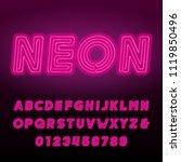 pink neon tube alphabet font.... | Shutterstock .eps vector #1119850496