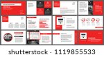 red and white element for slide ... | Shutterstock .eps vector #1119855533