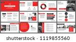 red and white element for slide ... | Shutterstock .eps vector #1119855560
