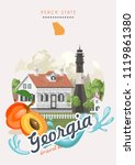 georgia usa postcard. peach... | Shutterstock .eps vector #1119861380