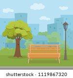 bench empty in urban park... | Shutterstock .eps vector #1119867320