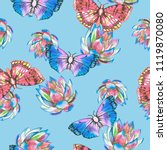 butterfly and succulents... | Shutterstock . vector #1119870080