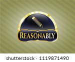 gold badge with pencil icon... | Shutterstock .eps vector #1119871490