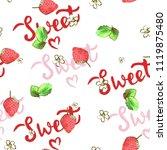sweet strawberries watercolor... | Shutterstock . vector #1119875480