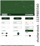dark green vector ui kit in...