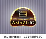 gold badge or emblem with...   Shutterstock .eps vector #1119889880