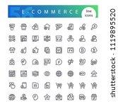 set of 56 e commerce line icons ...   Shutterstock .eps vector #1119895520