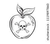 poison apple line art and dot... | Shutterstock .eps vector #1119897860