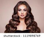 brunette girl with long healthy ... | Shutterstock . vector #1119898769