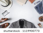 top view set of classic clothes ... | Shutterstock . vector #1119900773