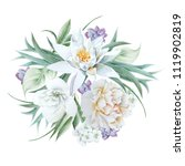 watercolor bouquet with flowers.... | Shutterstock . vector #1119902819