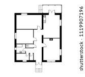 monochrome floor plan of a... | Shutterstock .eps vector #1119907196