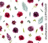 seamless pattern with burgundy ... | Shutterstock . vector #1119910049