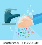 washing hands with soap.... | Shutterstock .eps vector #1119911039