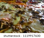 pizza with peperoni  cheese ... | Shutterstock . vector #1119917630