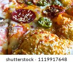 pizza with peperoni  cheese ... | Shutterstock . vector #1119917648