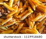 delicious italian pasta with... | Shutterstock . vector #1119918680