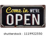 vintage rusty metal sign on a... | Shutterstock . vector #1119922550