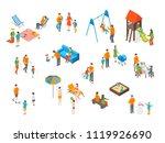 families spending free time 3d... | Shutterstock .eps vector #1119926690