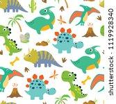 cute dino seamless pattern. | Shutterstock .eps vector #1119928340