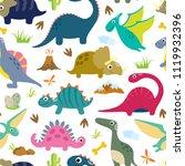 cute dino seamless pattern. | Shutterstock .eps vector #1119932396