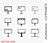 billboard icon vector | Shutterstock .eps vector #1119934874