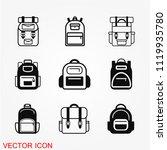 backpack icon vector | Shutterstock .eps vector #1119935780