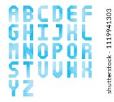 blue watercolor alphabet a to z ... | Shutterstock .eps vector #1119941303