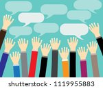 businessman hand raised up with ... | Shutterstock .eps vector #1119955883