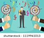 businessman holding trophy... | Shutterstock .eps vector #1119961013