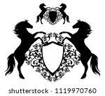 pair of standing horses holding ... | Shutterstock .eps vector #1119970760