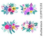 a set of bouquets of tropical... | Shutterstock .eps vector #1119971153