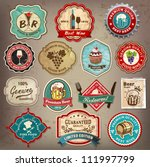 Stock vector collection of vintage retro grunge wine beer restaurant cafe and bar labels badges and icons 111997799