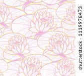 ink hand drawn lotus pattern... | Shutterstock .eps vector #1119978473