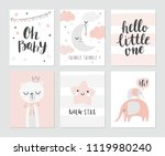 set of cute baby shower cards... | Shutterstock .eps vector #1119980240