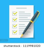 new checklist flat icon.... | Shutterstock .eps vector #1119981020