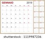 italian planning calendar 2019  ... | Shutterstock .eps vector #1119987236