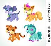 little cute cartoon animals.... | Shutterstock .eps vector #1119995603