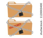 the metal chain and padlock ... | Shutterstock .eps vector #1120003400