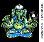 ganesha with musical attributes ... | Shutterstock .eps vector #1120006136