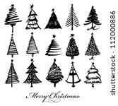 vector christmas tree design set | Shutterstock .eps vector #112000886