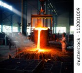 pouring of liquid metal in open ... | Shutterstock . vector #112001009
