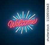 welcome neon signboard. vector...   Shutterstock .eps vector #1120010663