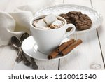 cup of hot chocolate with... | Shutterstock . vector #1120012340