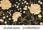 Stock vector floral vintage seamless pattern with flowers peonies oriental style vector illustration art 1120020023