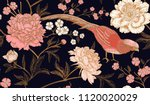 peonies and pheasants. floral... | Shutterstock .eps vector #1120020029