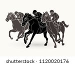 jockey riding horse  hose... | Shutterstock .eps vector #1120020176