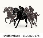 jockey riding horse  hose... | Shutterstock .eps vector #1120020176
