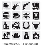 vector black wild west icon set ... | Shutterstock .eps vector #112002080