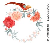 card with flowers and birds.... | Shutterstock .eps vector #1120021400